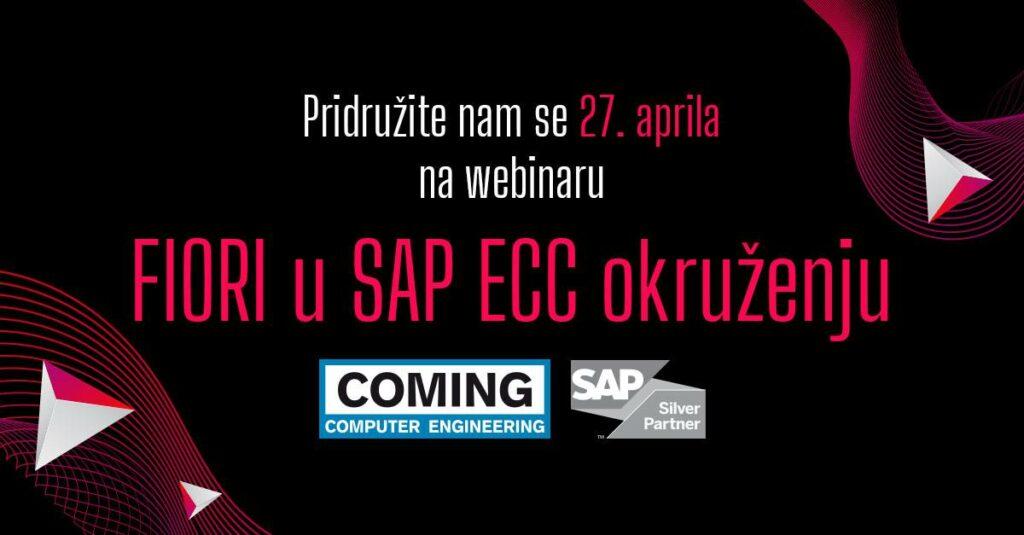 Poster za webinar FIORI u SAP ECC okruženju sa tamnom pozadinom ispisan rozikastim slovima ispod koga su logotipi cominga i sap-a
